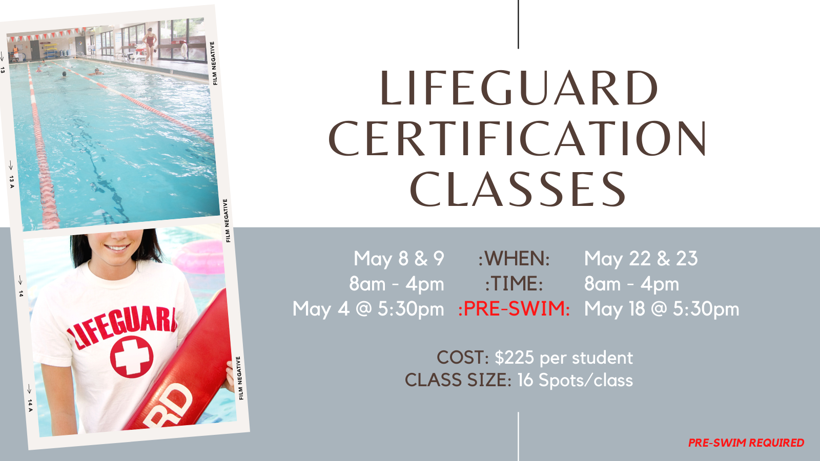 Available April Lifeguard Certification Classes